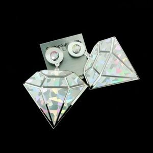 Jewelry - Diamond laser acrylic earrings large Holographic